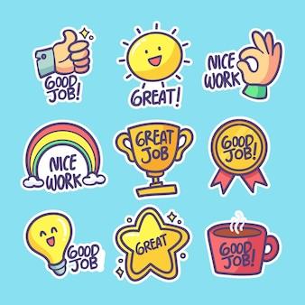 Set of hand drawn good job stickers