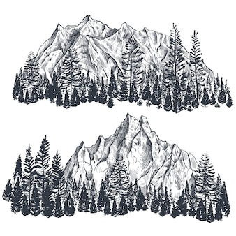 Set of hand drawn graphic mountain ranges with pine forest nature landscape