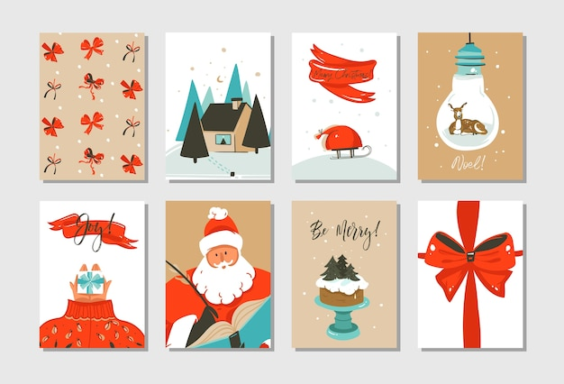 Set of hand drawn greeting cards, merry christmas and happy new year theme