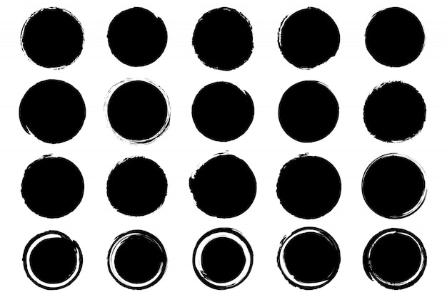 Set of hand drawn grunge black ink circle.