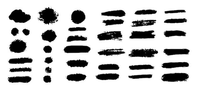 Set hand drawn of grunge rectangles and stripes template backgrounds