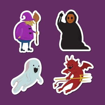 Set of hand drawn halloween character collection