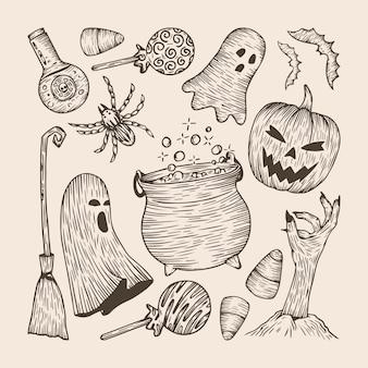 Set of hand drawn halloween elements