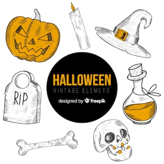 Set of hand-drawn halloween elements