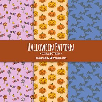 Set of hand drawn halloween patterns