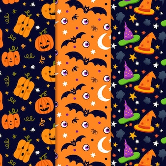Set of hand drawn halloween patterns