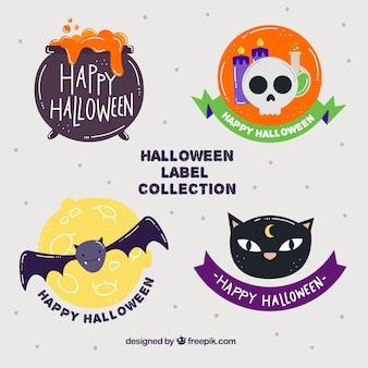 Set of hand drawn halloween stickers