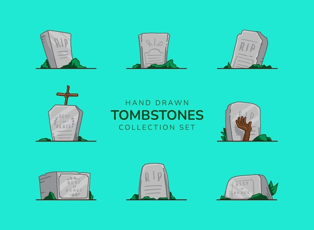 Set of hand drawn halloween tombstone collection