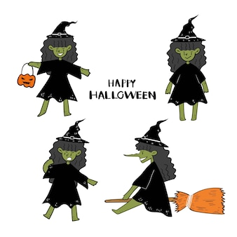 Set of hand-drawn halloween witch doodle.
