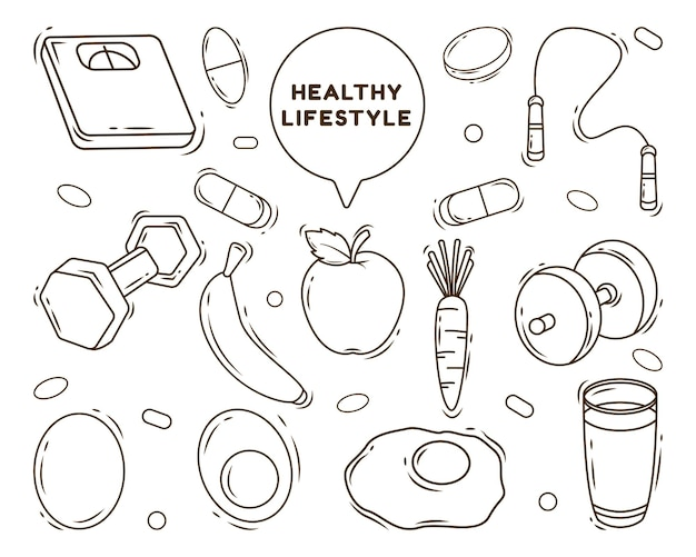 Set of hand drawn healthy lifestyle cartoon doodle style coloring