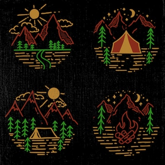 Set of hand drawn hiking and tourism emblems.  element for logo, poster, card, emblem, print.  image