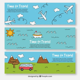Set of hand drawn holiday travel banners