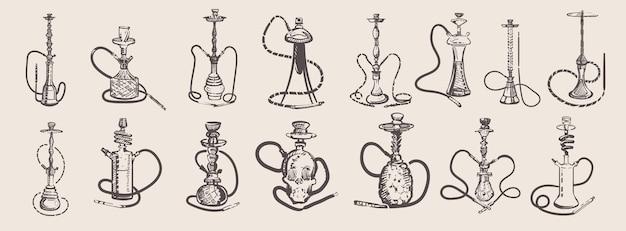 Set of hand drawn hookahs