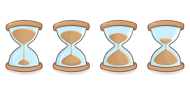 Set of hand drawn hourglass