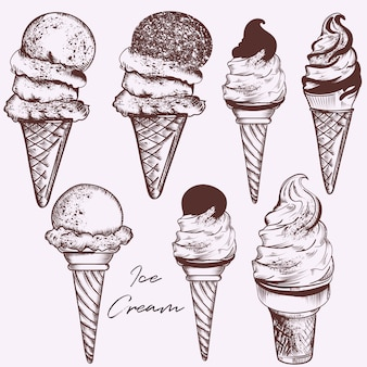 Set of hand drawn ice cream
