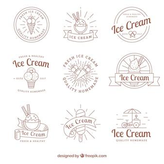 Set of hand-drawn ice-creams stickers