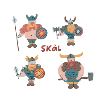 Set of hand drawn illustration of vikings with helmet, spear, axe and sword