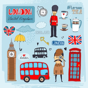 Set of hand-drawn illustrations of london landmarks and iconic symbols