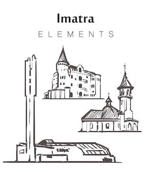 Set of hand-drawn imatra buildings