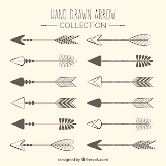 Set of hand drawn indian arrows
