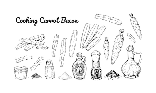 Set of hand drawn ingredients for cooking carrot bacon