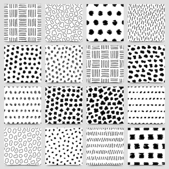 Set of hand drawn ink seamless pattern