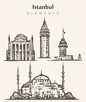Set of hand-drawn istanbul buildings.istanbul elements sketch illustration. maiden,galata towers,blue mosque,