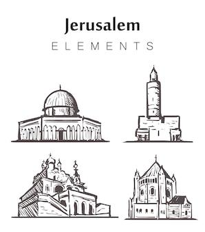 Set of hand-drawn jerusalem buildings