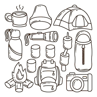 Set of hand drawn kawaii camping cartoon doodle coloring