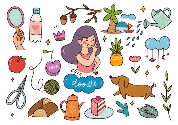Set of hand drawn kawaii doodle