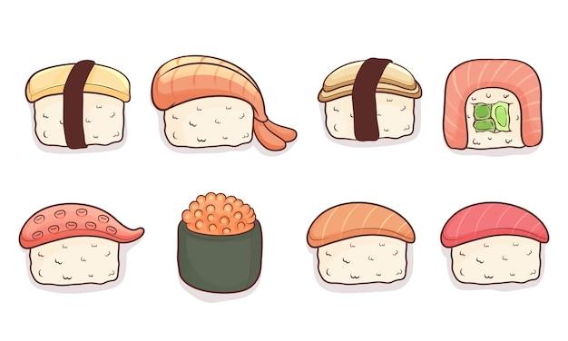 Set of hand drawn kawaii sushi