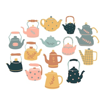 Set of hand drawn kettles and tea pots