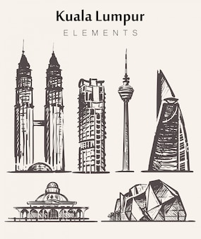 Set of hand-drawn kuala lampur buildings.kuala lampur elements sketch  illustration.