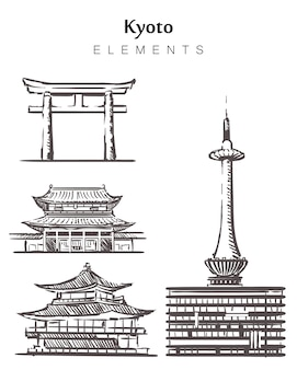 Set of hand-drawn kyoto buildings