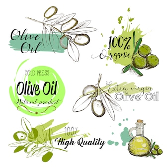 Set of hand drawn labels and signs of olive oil.