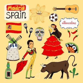 Set of hand-drawn landmarks and symbols of spain