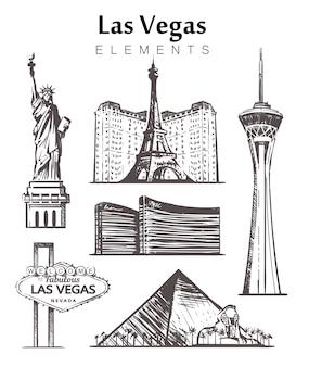 Set of hand-drawn las vegas buildings