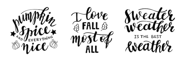 Set of hand drawn lettering fall autumn season quotes