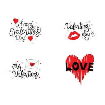 Set of hand drawn lettering. happy valentine's day.