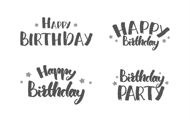 Set of hand drawn lettering quotes of happy birthday on white background. gretting cards.