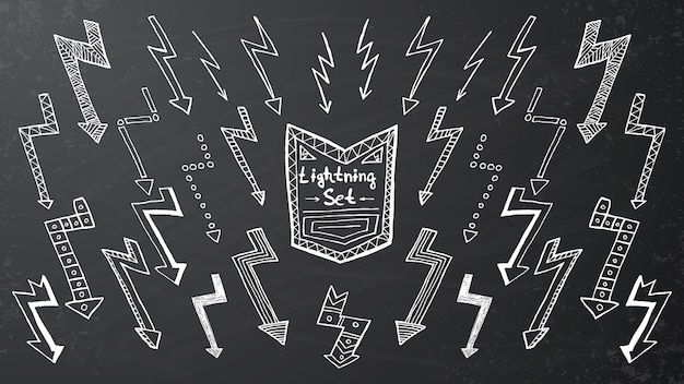 Set of hand drawn lightning