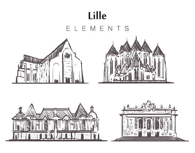 Set of hand-drawn lille buildings