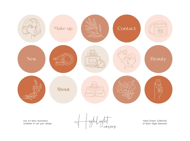 Set of hand drawn line art cosmetics and beauty illustrations for social media highlight covers