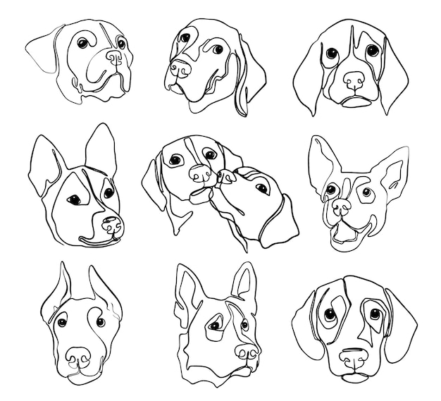 Set of hand drawn line art illustrations of dog characters portraits