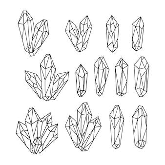 Set of hand drawn line art quartz crystals