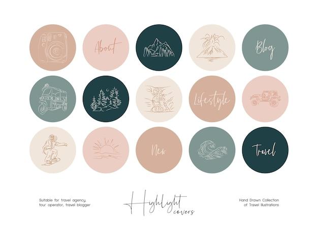 Set of hand drawn line art travel vector illustrations for instagram highlight covers