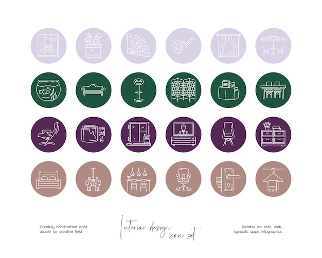 Set of hand drawn line art vector interior design illustrations for social media or branding