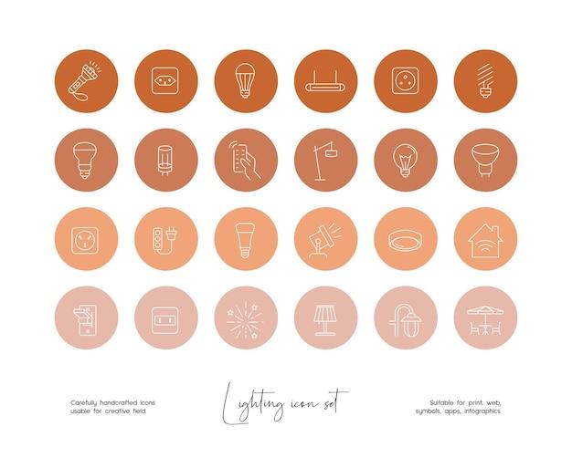 Set of hand drawn line art vector lighting illustrations for social media or branding
