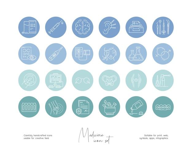 Set of hand drawn line art vector medicine illustrations for social media or branding