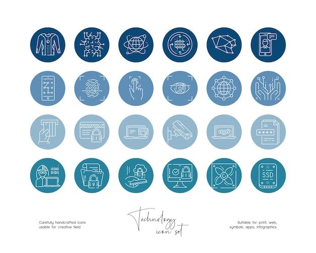 Set of hand drawn line art vector technology illustrations for social media or branding